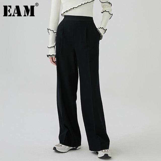 [EAM] 2019 New Spring High Waist Black LeisureLoose Long Wide Leg Brief Woolen Pants Women Trousers Fashion Tide JI856