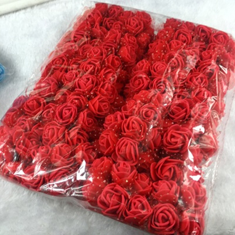 144pcs Mini Foam Roses Artificial Flowers Home Wedding Car Decoration Fake Rose Flowers for Needlework Bouquet Multicolor