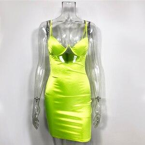 Image 5 - Colysmo podwójna warstwa satynowa sukienka głęboki dekolt Out Sexy sukienka kobiety elastyczna Slim Fit letnia sukienka 2020 ubrania imprezowe sukienki klubowe Vestido