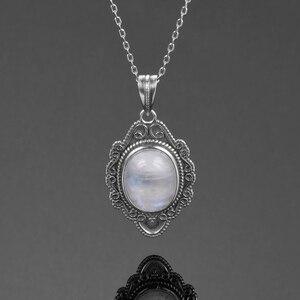 Image 3 - Высокое качество, чистое серебро, винтажный Овальный Радужный Лунный Камень, подвески, ожерелья, Женские Ювелирные Украшения ручной работы, подарки, оптовая продажа