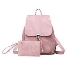 New 2 Pieces / Set Of Ladies Backpack Pu Leather Female Backpack Casual Girl School Backpack Travel Beam Pocket(China)