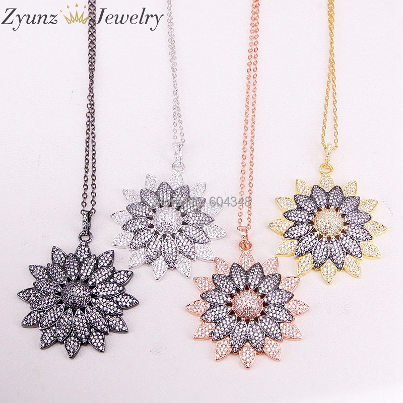 5 Strands ZYZ323 8910 CZ Micro Pave Flower Pendant Necklace Cubic Zirconia Flower Charm Gold Silver