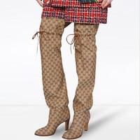 Модные высокие сапоги до бедра на высоком каблуке, женская зимняя обувь, женские сапоги выше колена, свободные удобные зимние высокие сапог