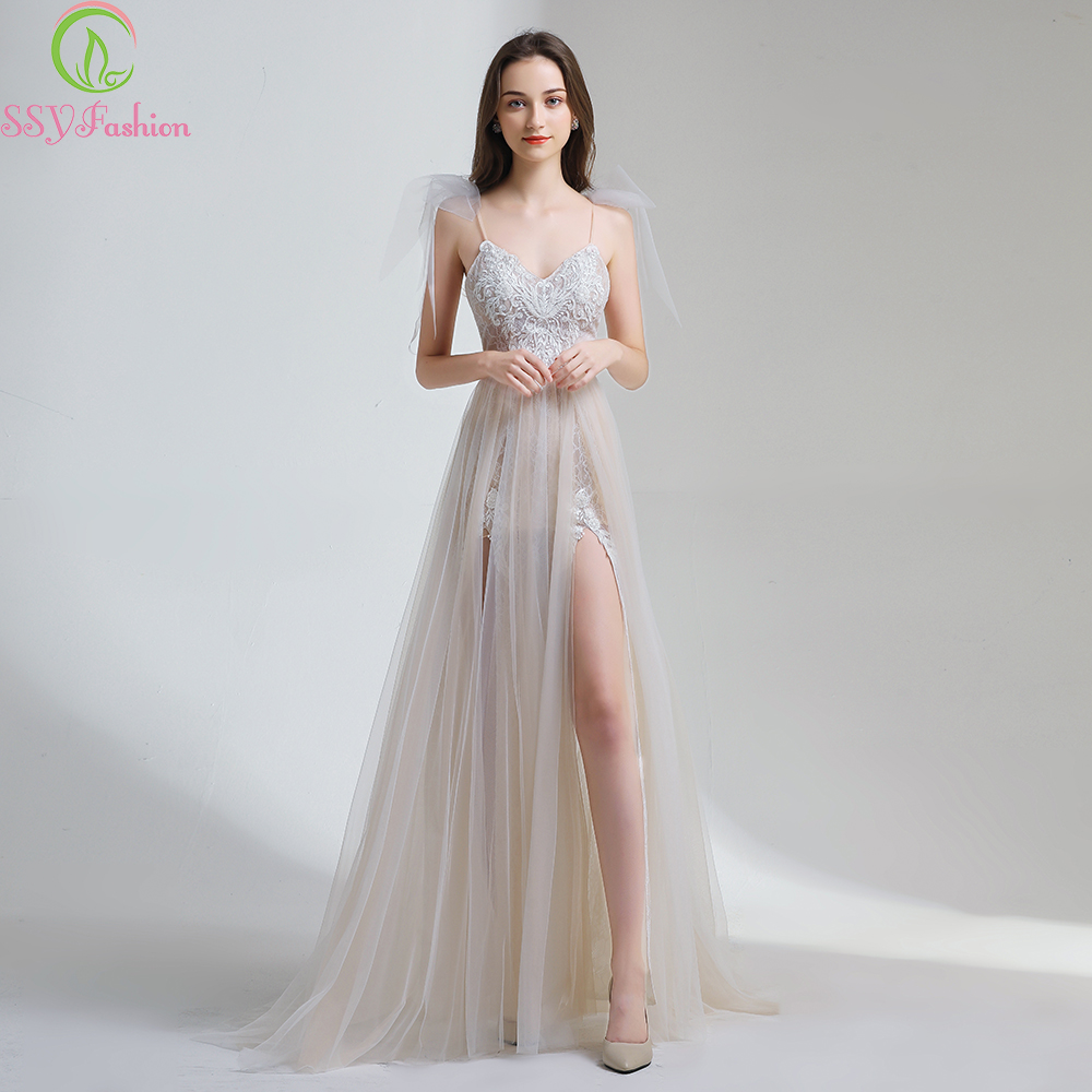 e3bab08ab610 SSYFashion 2019 New Sexy Lace Evening Dress V neck Sleeveless Sweep Train  Backless Formal Prom Gowns Robe De Soiree Custom Made-in Evening Dresses  from ...