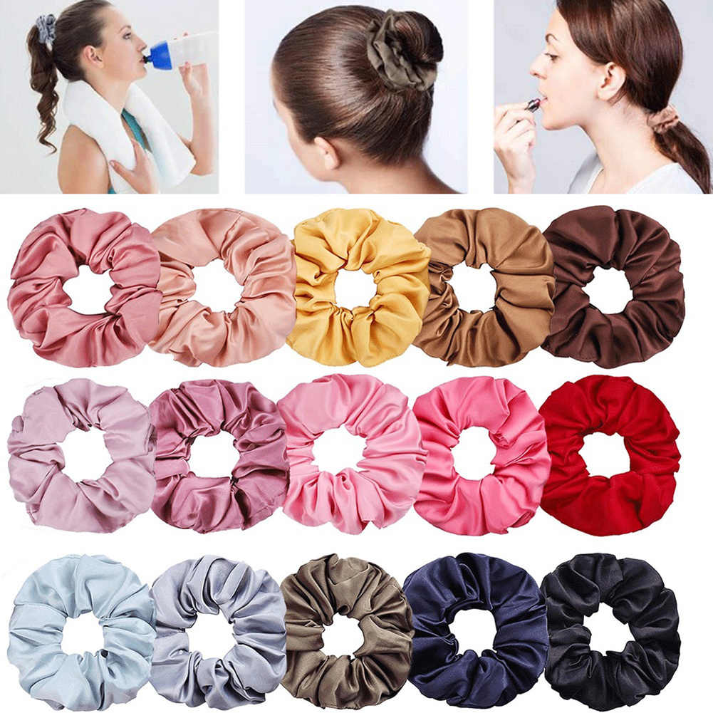 1PC New Silky Satin Solid Hair Scrunchies Women Elastic Hair Bands Hair Accessories Rope Ties For Girls Ponytail Holder Headwear