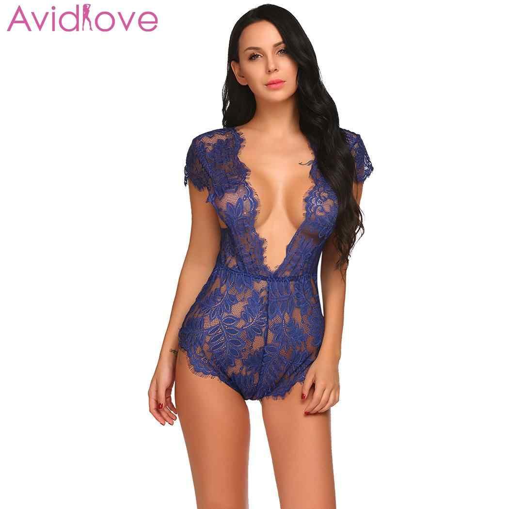 71be0341207 Avidlove Women Sex Lingerie Floral Sexy Hot Erotic Plus Size Teddies  Bodysuit Women Lace Babydoll Nightgown