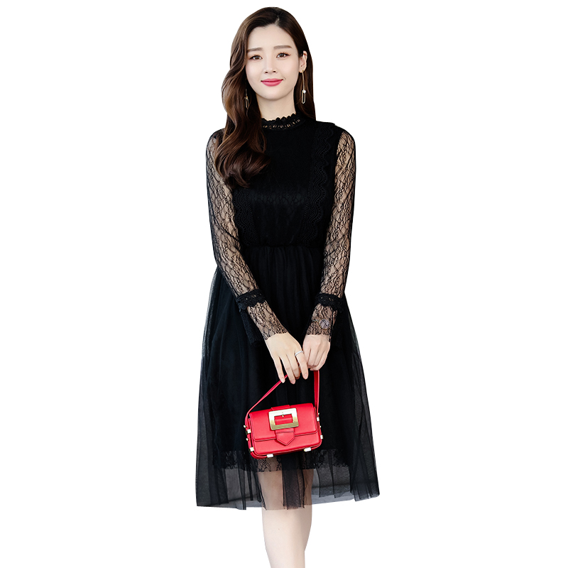 Vintage Lace Dress Women 2019 Spring New Women Dresses Long Sleeve...