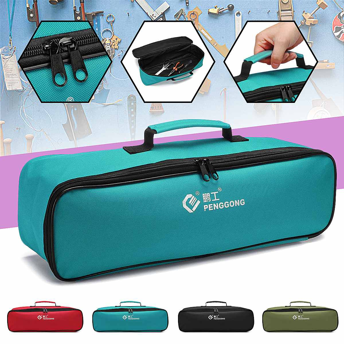 Oxford Cloth Waterproof Tool Bag Square Thick Electrician Tool Storage Bag Portable Toolbag Power Tool Organizer Pouch Bag Case