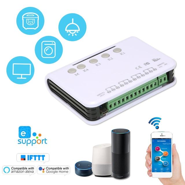 EWeLink חכם שלט רחוק אלחוטי מתג אוניברסלי מודול 4ch DC 5V Wifi מתג טיימר טלפון APP שלט