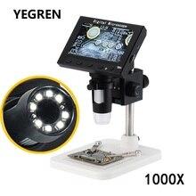 все цены на 1000X Digital Microscope 2.0 5.0 MP Electronic Video Microscope 4.3 Inch Display with 8 LED Stand for PCB Motherboard Repairing онлайн