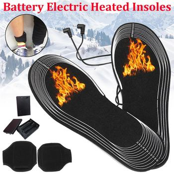 1 Pair Carbon Fiber Electric Battery Heating 50 Degree Warm Insert Shoe Insole Women Men Winter Heated Insoles Foot Pad Heater healthy pair unisex soft winter self heating magnetic deodorant insole warm pad for shoes foot cushion pad