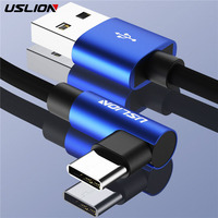 USLION Type C USB Cable For Samsung galaxy S9 Plus S8 Note 9 one plus 6 Type-c Phone Charger USB 3.0 Fast Charging 90 Degree Mobile Phone Cables