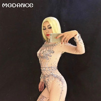 New Woman Sexy Stage Bodysuit Full Sparkling Crystals Stones Jumpsuit Nightclub Singer Performance Party Wear Women outfit