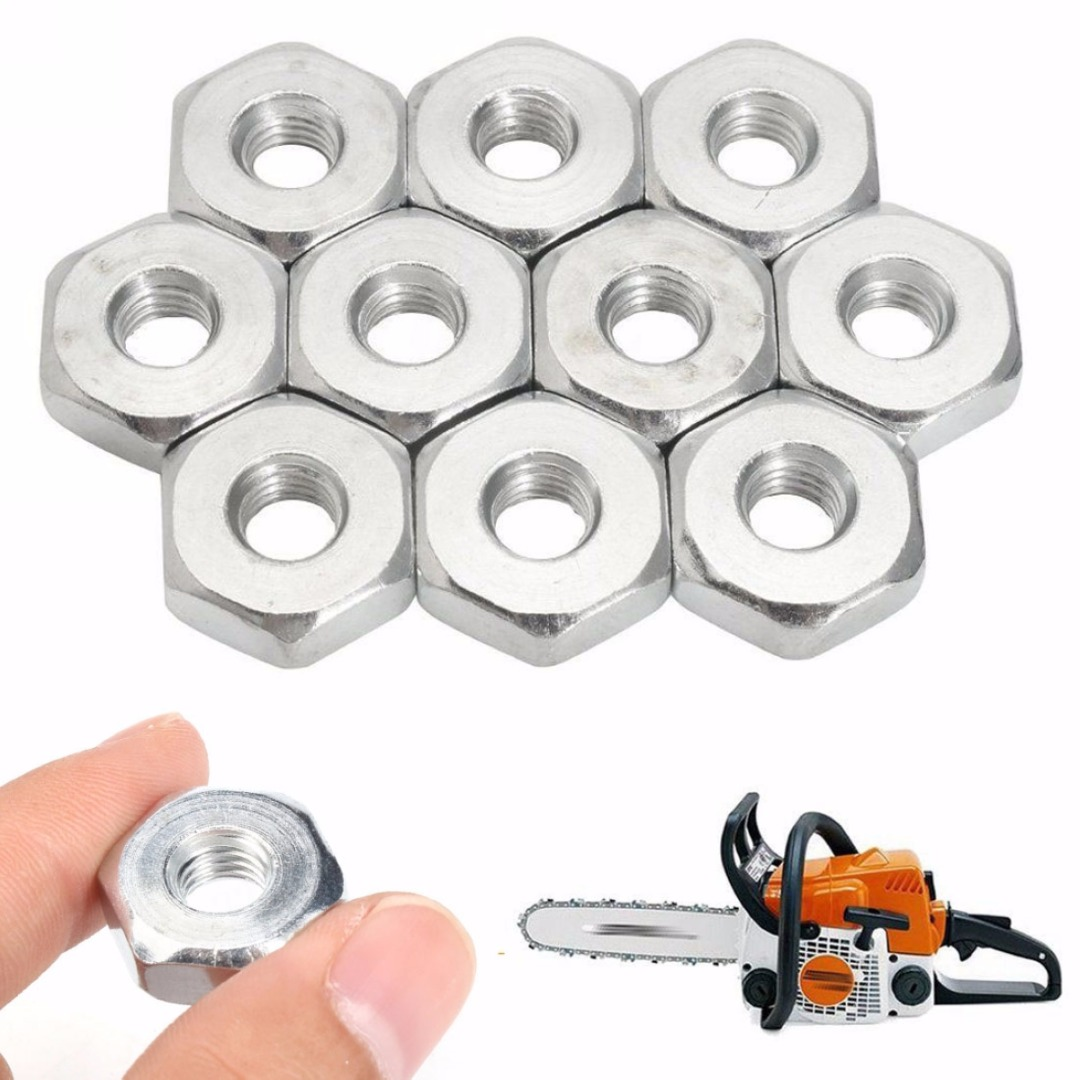 DWZ 10 PCS M8 Guide Bar Nut Fit For MS 180 250 381 361 440 660 Chainsaw Silver