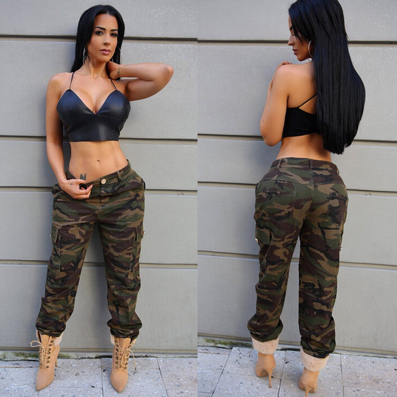 2018 New Style Fashion Women Stretch Waist Military Army Camouflage Camo Cargo Trousers Casual Pants