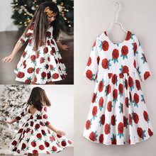 VTOM Baby Kids Girls Summer Dress Kids Floral Princess Half Sleeve Dress Baby Party Rose Flower Dresses Children Clothes недорого