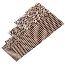 50 шт. Новое кобальтовое сверло 1 мм-3 мм сверло силовой инструмент M35 кобальтовое сверло Набор для бурения из закаленной стали чугуна