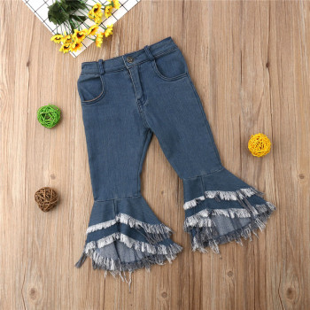Lovely Girls kids clothes Button pocket Tassel Wide Leg Flare Trousers High waist Toddler Denim Ruffle newborn Pants one pieces pocket