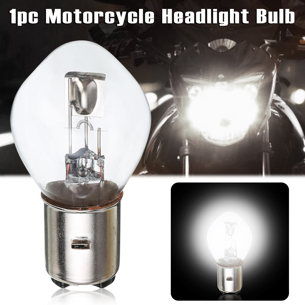 Home Treyues 1 Pc Ba20d H6 Motorcycle Headlight Dc12v 4cob Led Light Bulb White For Moped Scooter Atv Attractive Fashion