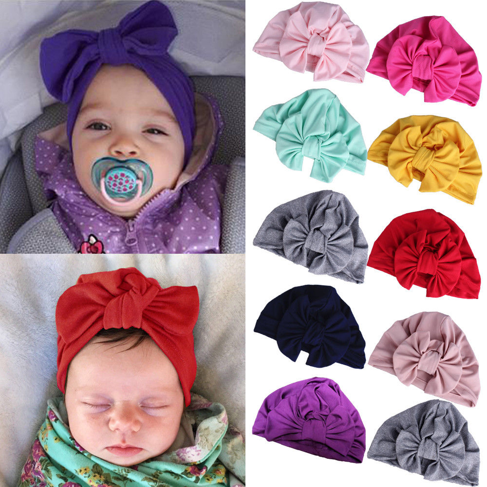 Baby Kids Girls Toodler Infant Bowknot Turban Head wrap Soft Cotton Cap Knot Hat