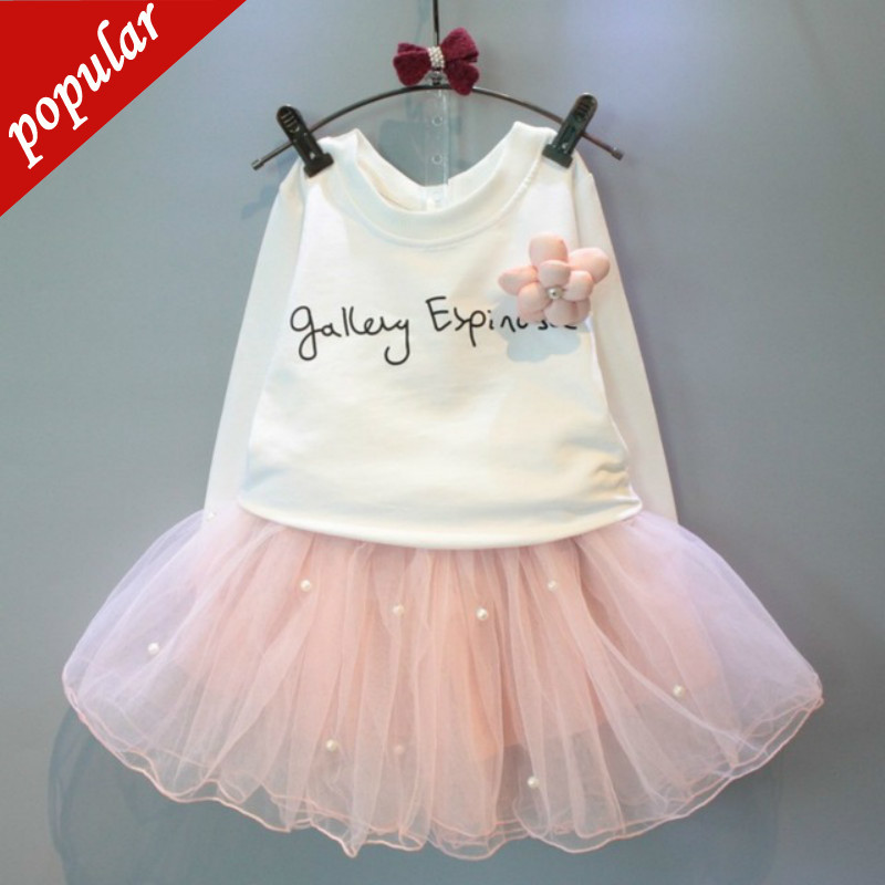 New Products Listed Autumn Baby Girls White Tee Shirt and Pink Dresses with Rhinestone Clothes Set Kids Children Clothing Sets