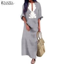 ZANZEA Women Printed V Neck Long Vestido Autumn Long Sleeve Maxi Dress Front Pockets Robe Femme Kaftan Womens Dresses Plus Size цены