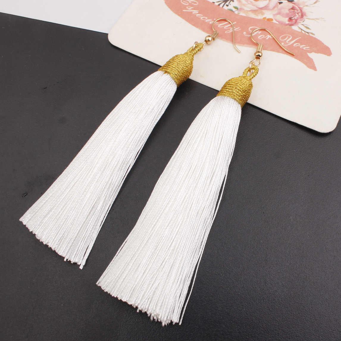 ใหม่คริสตัลยาวพู่ต่างหู Boho Bohemian สีดำสีแดงสีขาวผ้าไหมผ้าด้ายดอกไม้ drop ต่างหู dangle เครื่องประดับ