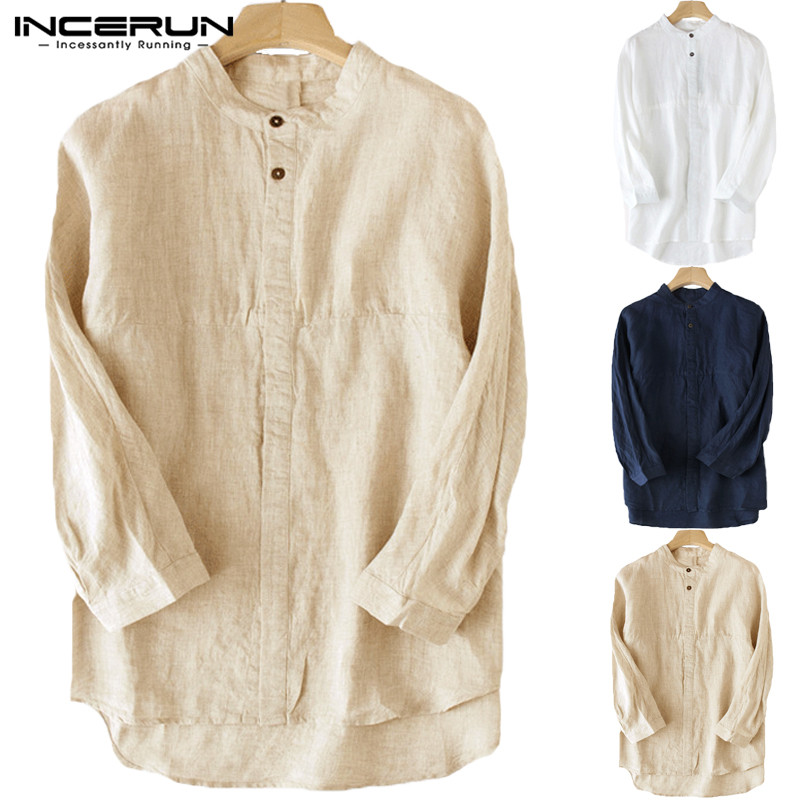 Vintage Men's Shirt Stand Collar 3/4 Sleeve Button Cotton Linen Solid Color Blouse Chinese Style Leisure Men Shirts Tops INCERUN