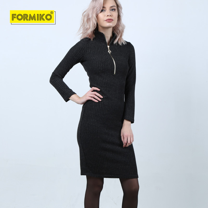 09e8ab938dd0f Formiko Women Autumn Winter Sweater Knitted Dresses Slim Elastic z...
