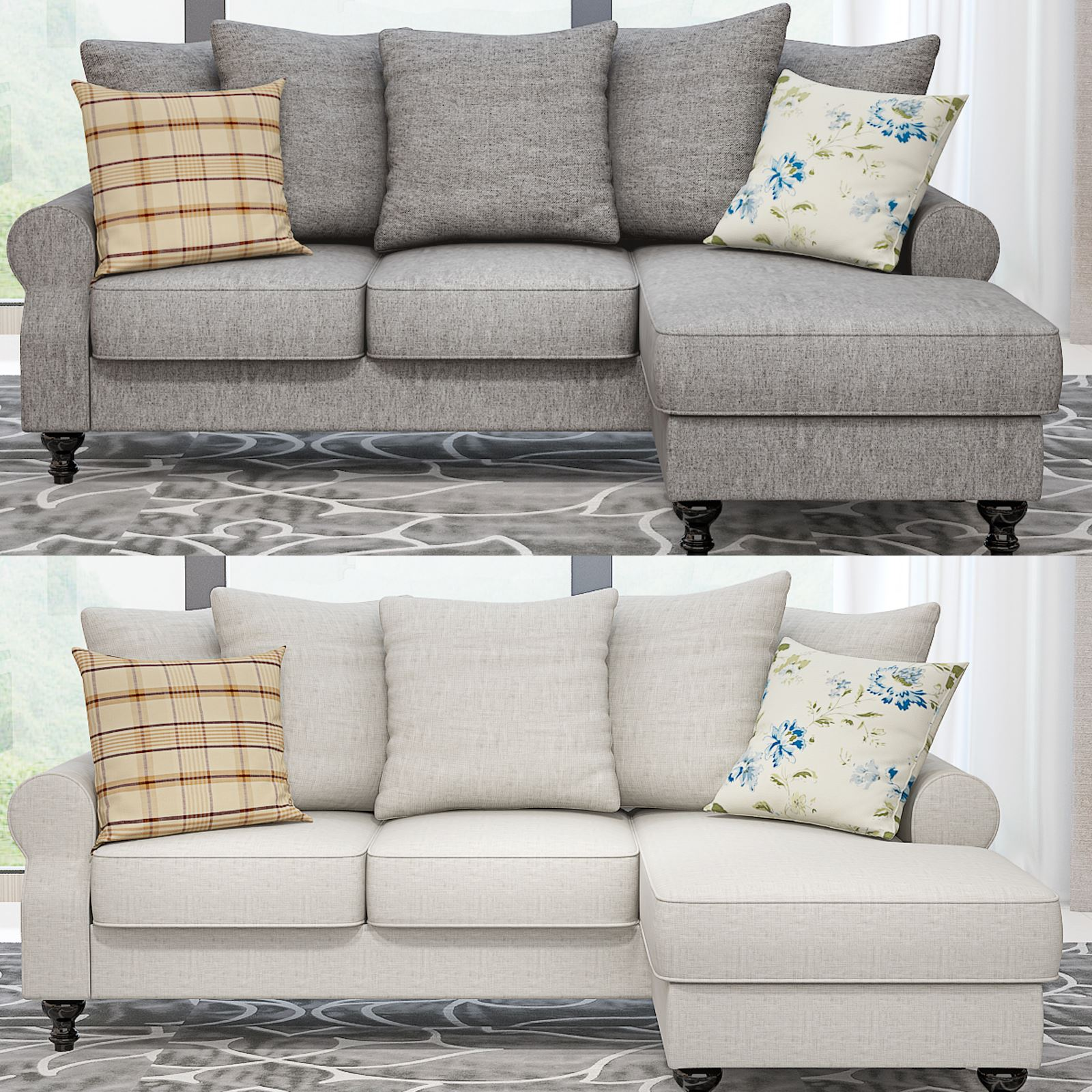 Panana Fabric Corner Sofa With Reversible Chaise Lounge Sofa Chair Washable Clothes + Pillows