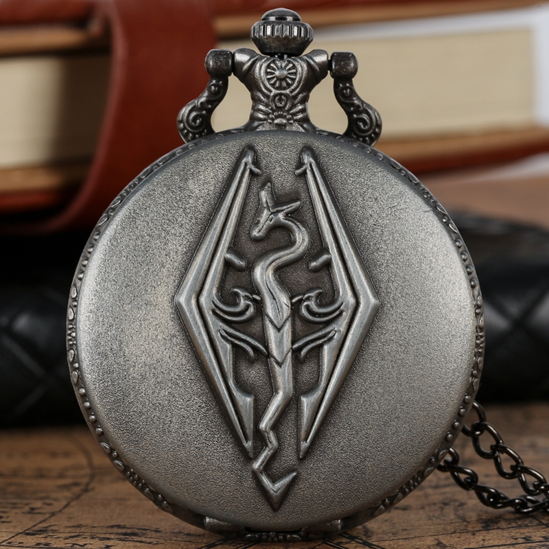 The Elder Scrolls V Theme Retro Bronze 3D Dragon Design Quartz Pocket Watch With Necklace Chain For Boys Skyrim Pendant Gifts