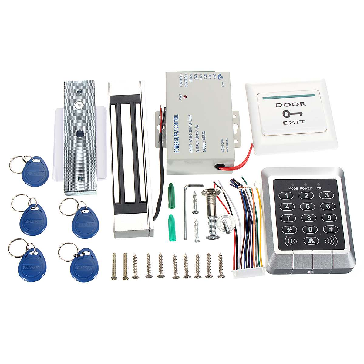 125KHz RFID ID Card Keypad Doorbell Door Lock Security Access Control System Kit Host Controller+Electric Magnetic Lock+Keyfobs125KHz RFID ID Card Keypad Doorbell Door Lock Security Access Control System Kit Host Controller+Electric Magnetic Lock+Keyfobs