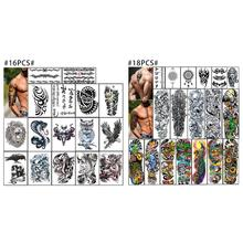 Temporary Tattoo for Guys for Man - Konsait Extra Fake Temporary Tattoo Black tattoo Body Stickers Arm Shoulder Chest & Back Mak