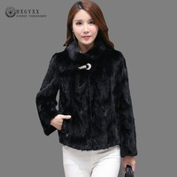 2019 Luxury Mink Coat Natural Fur Coats Women Winter Black Real Fur Parka Female Outerwear Short warm Manteau Femme Hiver Okd597