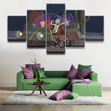 HD Print 5 Pieces Canvas Painting Kids Room Home Decor Rick And Morty Picture Animated Science Fiction Comedy Poster Wall Art