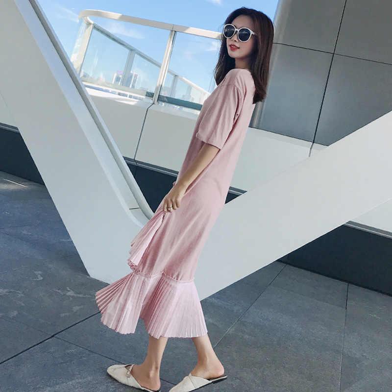 LANMREM 2019 одежды, комплект летней одежды для семьи, одежда для Новинки для женщин с рисунком в Корейском стиле асимметричное, с короткими рукавами Разделение совместных Сетчатое платье с круглым воротом свободный YG79711