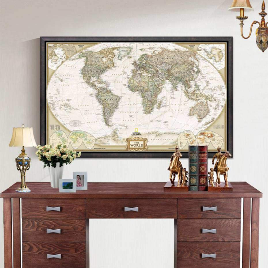 Large Vintage World Map 72x48cm Office Supplies Detailed Antique Map Of World Poster Wall Chart Retro Paper Matte Kraft Paper