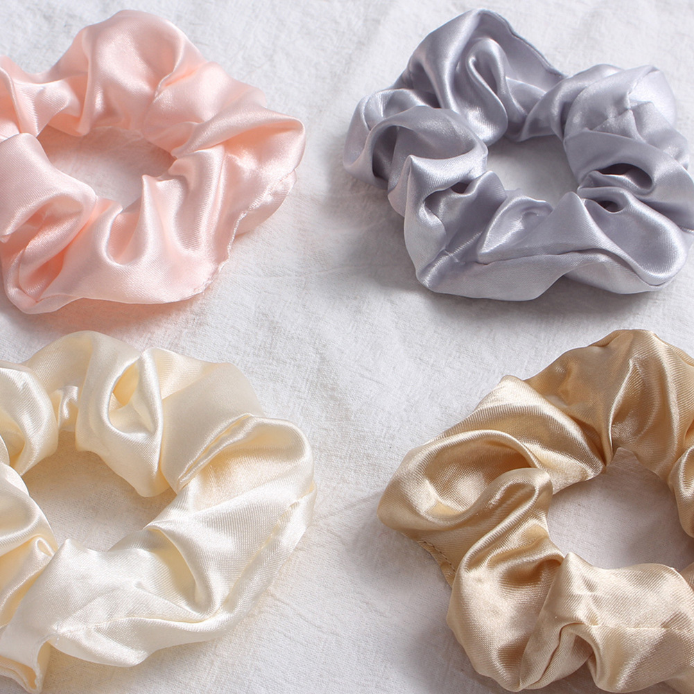 New Silky Satin Elastic Hair Bands Scrunchies Elastic Solid Color Hair Tie Rope Ring Ponytail Simple Style   Headwear   Summer Pink
