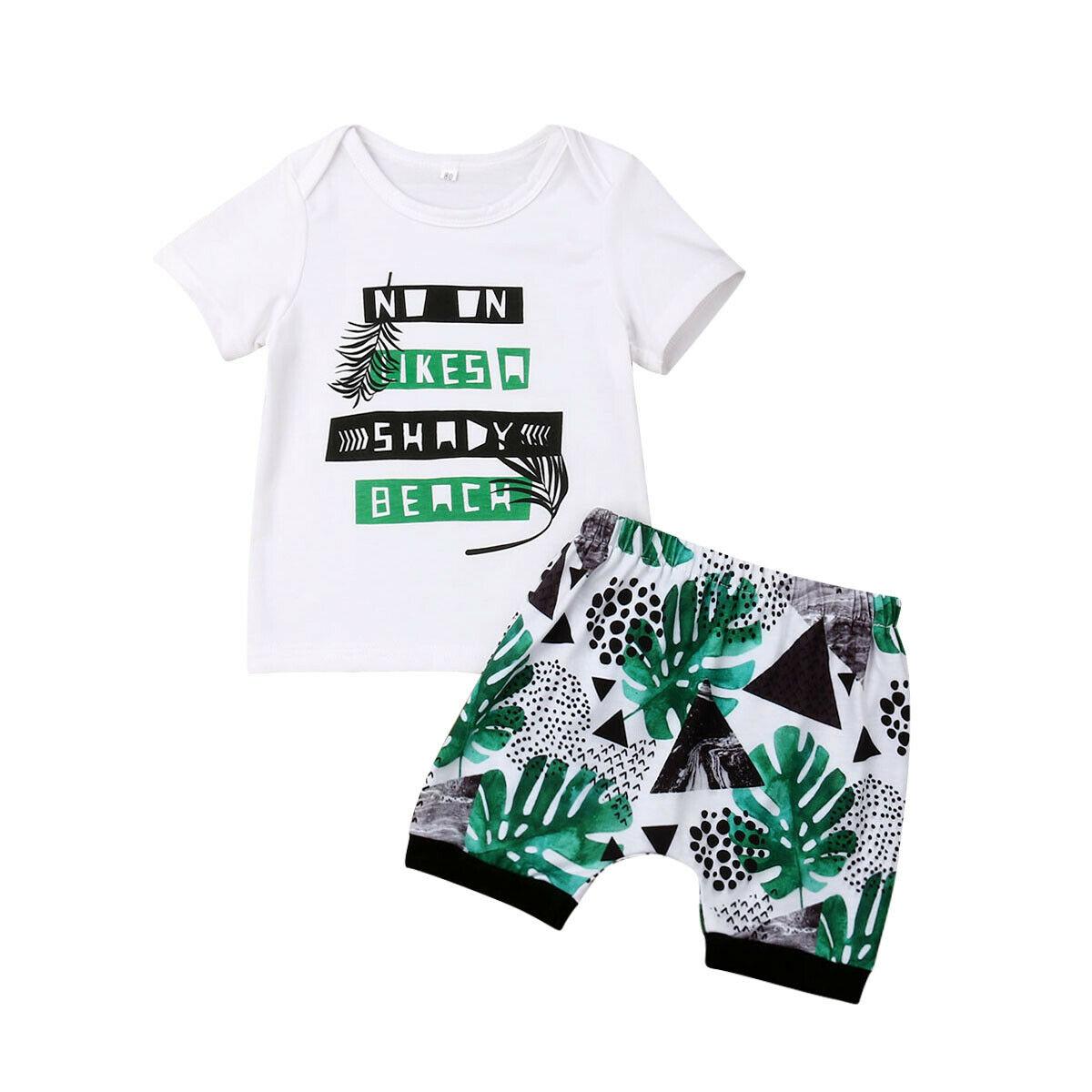 0-3y Infant Kleinkind Kinder Baby Jungen Kleidung Kurzarm Baumwolle T-shirt Tops Shorts Hose 2 Pcs Outfit Beachwear Sommer Kleidung Set Schnelle Farbe