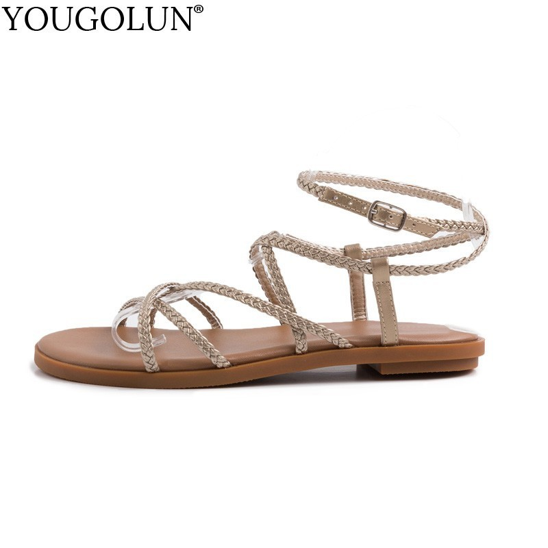 Women Cross Strap Flat Sandals Genuine Leather Summer Lady Flat Open toe Sandal Casual Woman Silver Black Comfortable Shoes A170