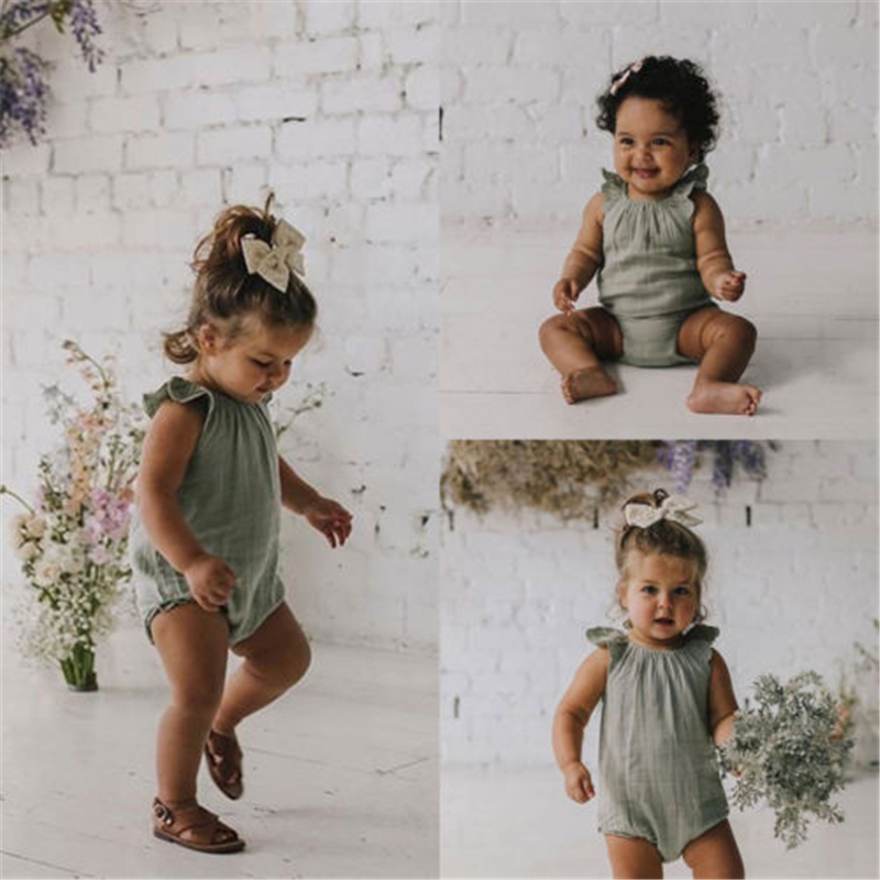 Newborn Kid Boys Girls Ruffle Sleeve   Romper   Baby Jumpsuit Sunsuit Summer New Brief Cotton And Linen Lace   Romper   For Baby Girls