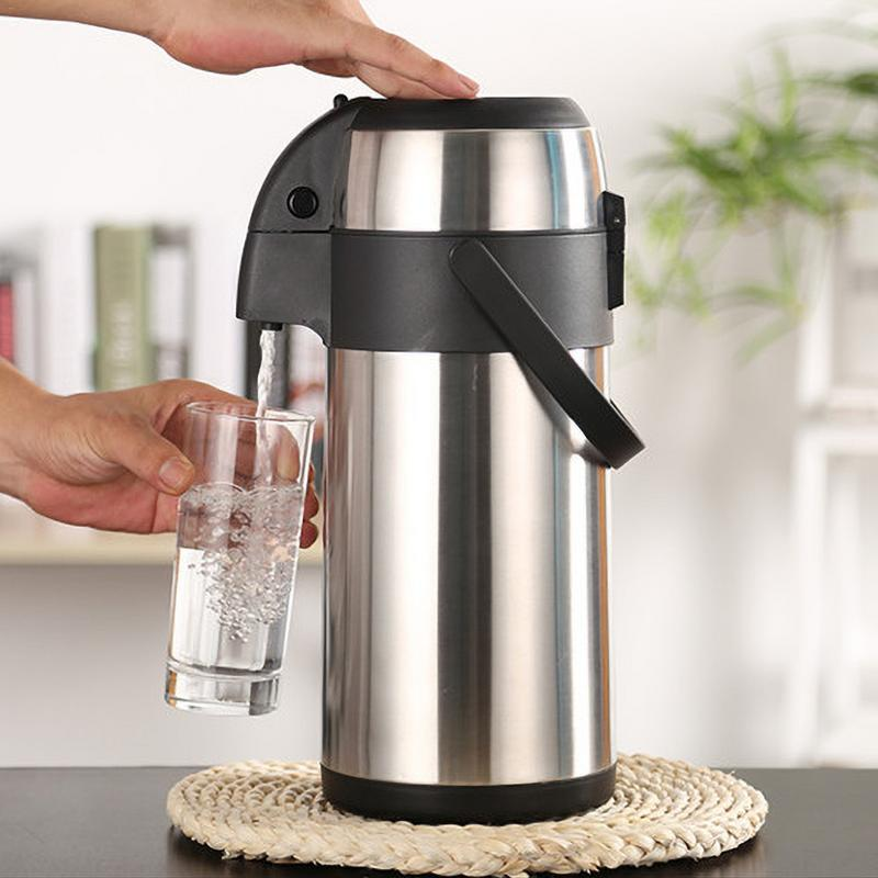 Stainless Steel Thermos Pressure Type Household Insulation Bottle Large Capacity 3L Coffee Thermal Kettle Keep Warm