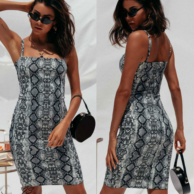 Sexy Bandage Stretch Bodycon Dress Women Sleeveless Summer Dress Snake Print Short Party Casual Mini Dress