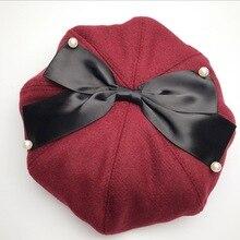 724c3211bfbd9 Yeni Desen Sonbahar Ve Kış yün şapka Kadın asil Mizaç Ressam Şapka Yün Şapka  Bere Yay Inci Şapka