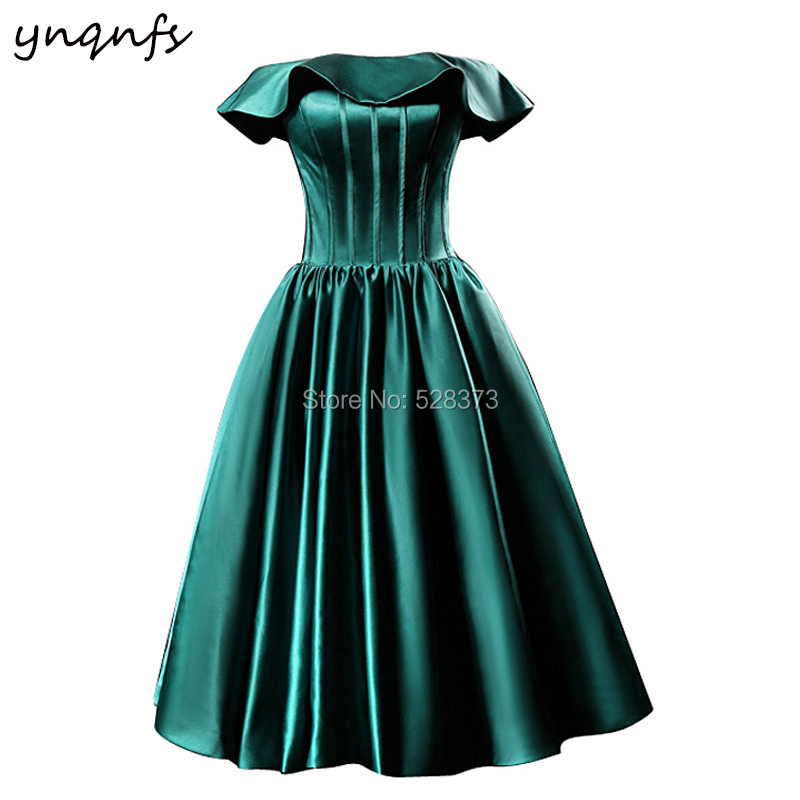 YNQNFS B24 Boat Off Shoulder Ruffles Emerald Green Satin Knee Length Robe 2019   Bridesmaid     Dresses   Party Guest Wear
