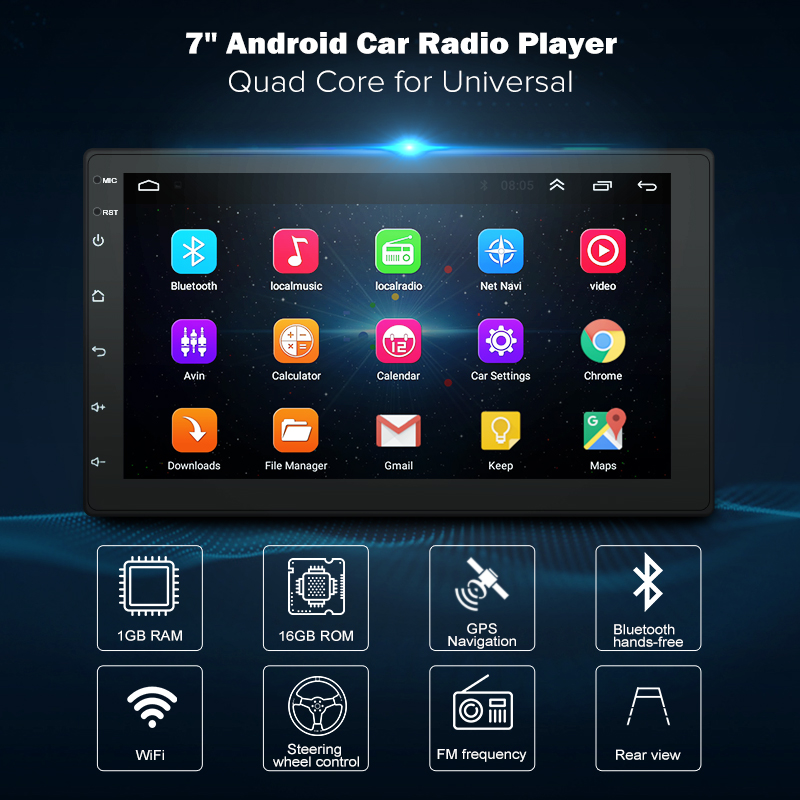 7 polegada Android8.1 2 Din rádio Do Carro DVD Player Multimídia GPS navigation Universal para Nissan peugeot toyota doble din Autoradio