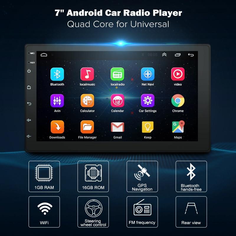 7 pouces Android8.1 2 Din dvd de voiture radio lecteur multimédia navigation gps Universel pour Nissan peugeot toyota doble din Autoradio
