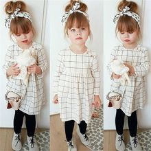 Pudcoco Girl Dress Toddler Kids Baby Girl Cartoon Plaid Cott