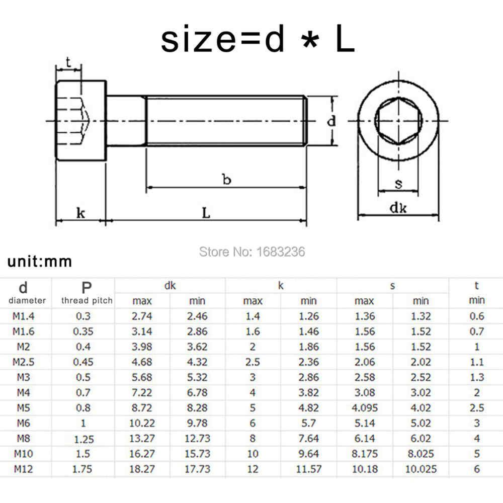 10/50pcs M2 M2 5 M3 M4 M5 M6 M8 Black grade 12 9 steel DIN912 Hexagon Hex  Socket Cap Allen Head Bolt Screw Length=5-150mm