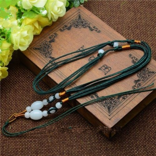 5Pcs Natural JADE beads Green Circle string cord rope for pendant Necklace A208